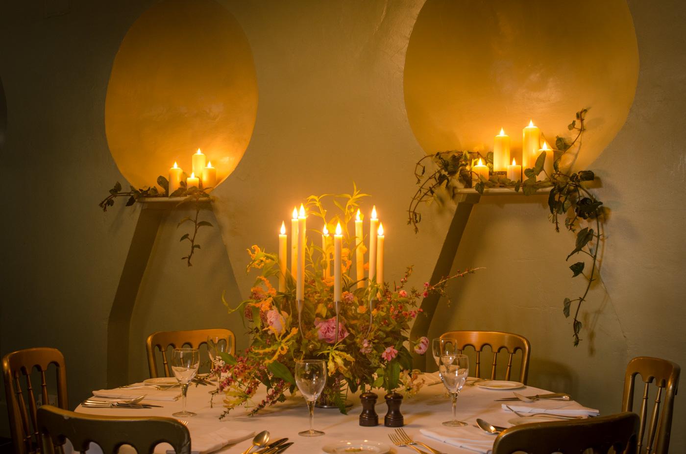 Candled Endsleigh Wedding Setup